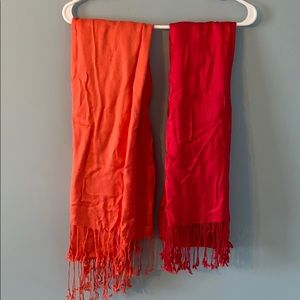 Scarf bundle red and coral
